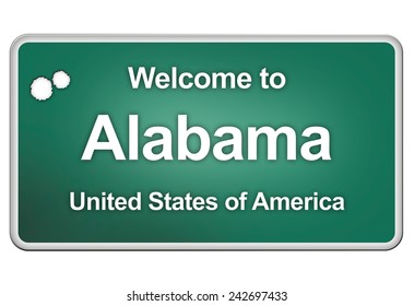 green road sign with: welcome to Alabama