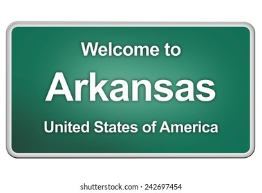 green road sign with: welcome to Arkansas