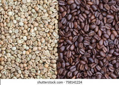 Green and roasted coffe beans, on the left grade Uganda robusta, on the right Peru arabica