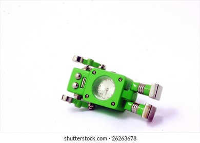 Green robot fall down isolate on white