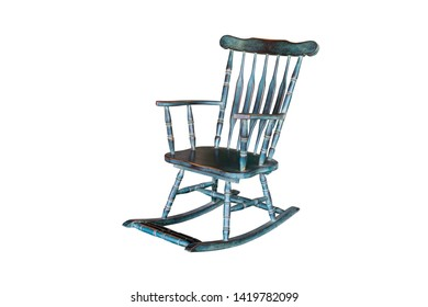 green rocking chair isolated on white background with clipping path.