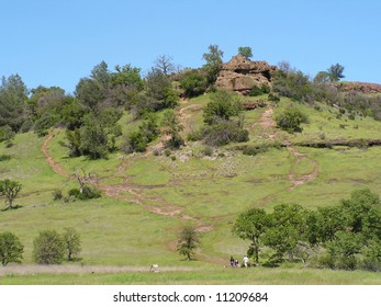A green rolling hill in Chico's Bidwell park in northern California amid lush spring growth. Hikers at the bottom.