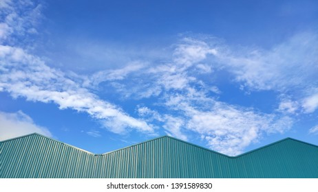 Green roof and blue sky
