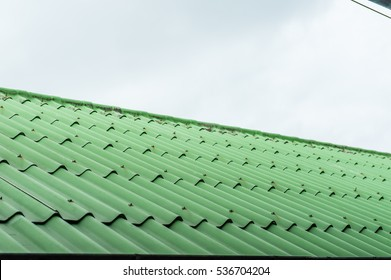 Green Roof.Green tile roof for texture and background.