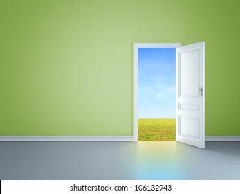 green room with an open door in field