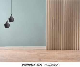Green room wall background with furniture and lamp design.