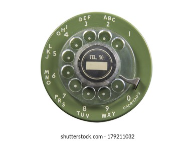 Green rotary phone dial plate isolated on white