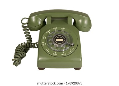 Green rotary phone isolated on white