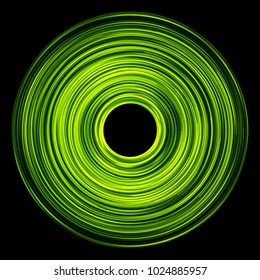 Green round shape glowing lines circle.