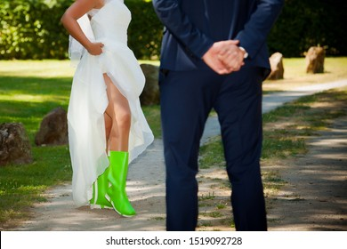 Green rubber boots on wedding party
