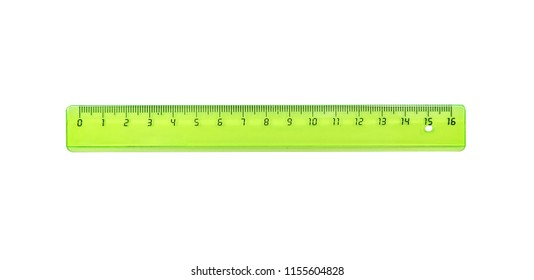 The green ruler is plastic for measuring centimeters and millimeters. Isolated on white.