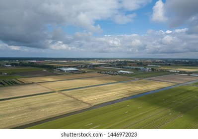 Green rural fields on farm outside Amsterdam city in Netherlands.Beautiful field with crops growing in Holland,shot from above with flying drone camera