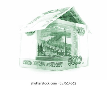 Green russian ruble house, rouble banknote, isolated on white background