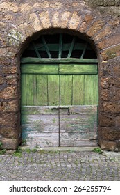 Green rustic doorway