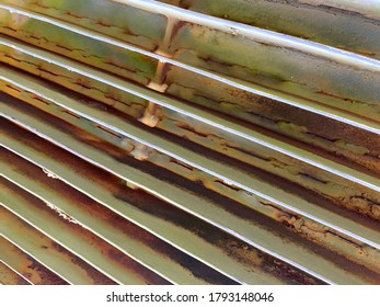 green rusty military tank engine radiator diagonal view