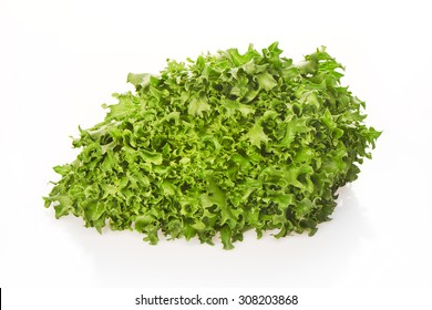 Green salad with drops of water isolated on white background