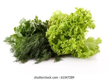 Green salad leaves background