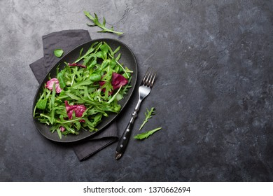 Green salad mix plate with rucola, frisee, radicchio and lamb's lettuce. Top view with copy space