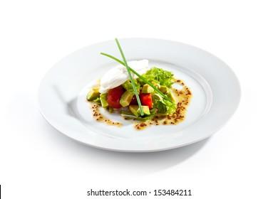 Green Salad with Mozzarella Cheese and Avocado
