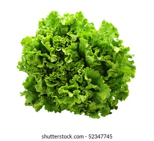 Green salad on a white background with path