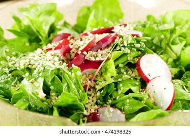 Green salad and red radish with hemp seeds in bowl