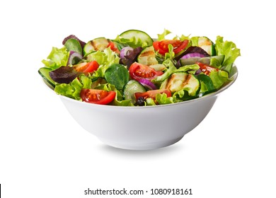 Green salad with tomato and fresh vegetables isolated on white background 2/29 image series