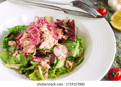 Green salad with tuna fish served in a elegant white plate.