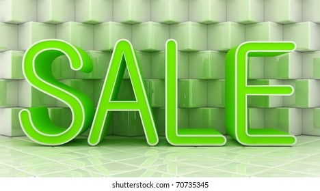 green sale on glossy blocks