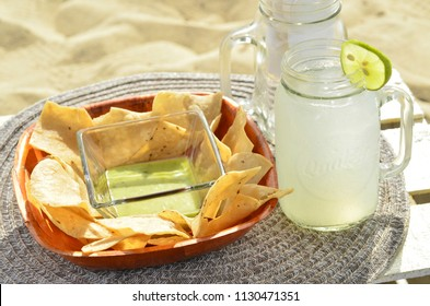 green salsa tortilla chips lime lemonade beach snack