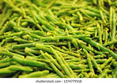 Green samphire sea bean salicornia for sale at a farmers market