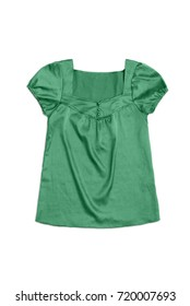 green satin blouse, isolated on white background