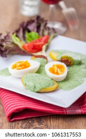green sauce with eggs and potato