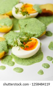 green sauce with eggs and potato  - Shutterstock ID 1258484119