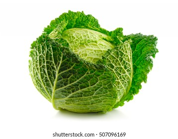Green Savoy cabbage vegetable isolated on white background