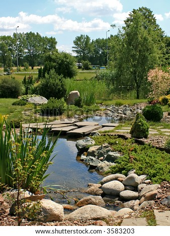 Green Scenery Garden Small Brook Stock Photo (Edit Now) 3583203 ...