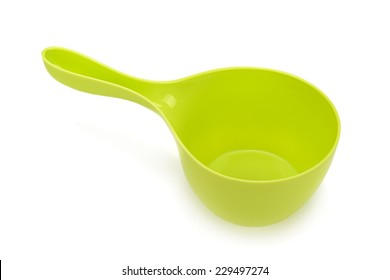 green scoop the water isolated on white background