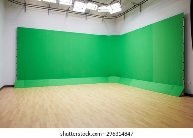 Green Screen In Empty TV Studio