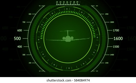 Green screen Navigation with airplane. Futuristic HUD interface. Screen with airplane. High tech background. Abstract virtual graphic touch user interface.