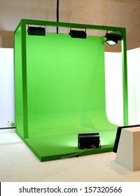 Green screen set for movie shooting