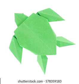 Green sea turtle of origami, isolated on white background.