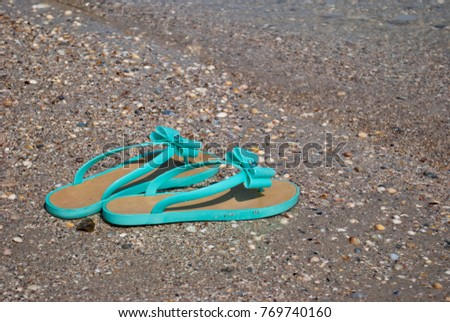 4a8358f3e green sea wave mint sneakers of rubber with bows and rhinestones beach  slippers on the shore