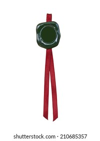 Green seal with red ribbon on white background