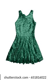 green sequin party dress, isolated on white background