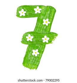 The green seven drawn by paints with white blossom