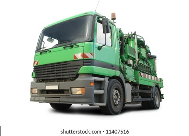 Green sewer cleaning tanker isolated on white background