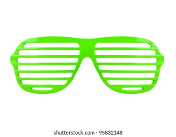 green shades sunglasses isolated on white