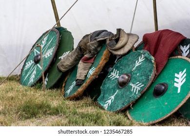 Green shields in viking camp