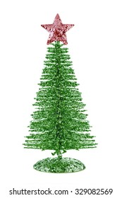 Green shiny Christmas tree with red star isolated on white background