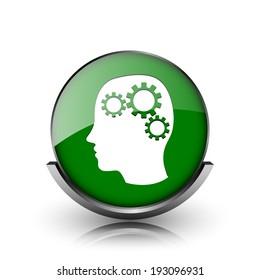Green shiny glossy icon on white background
