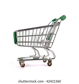 Green shopping trolley over white background